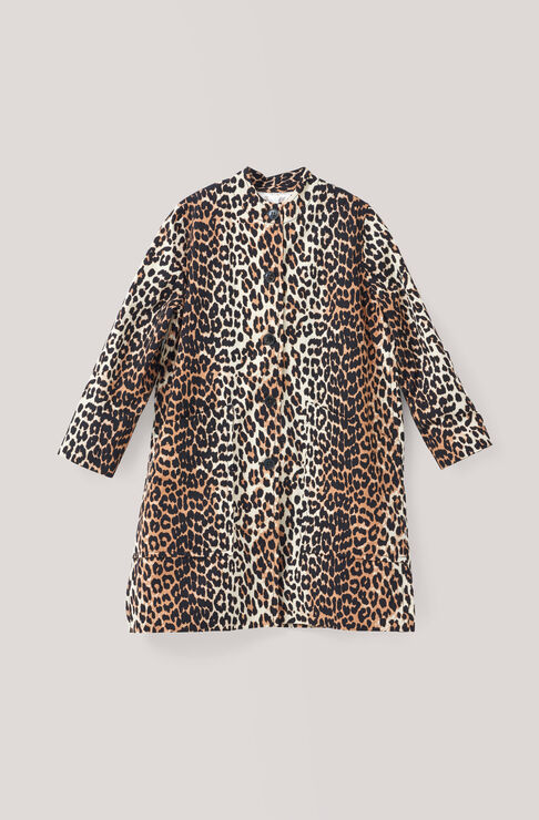 Fabre Cotton Coat, Leopard, hi-res