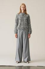 Hand Knit Wool Pullover, Black Melange, hi-res