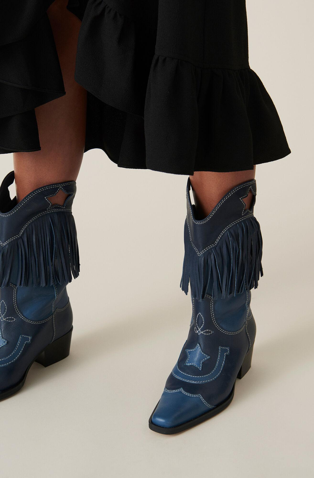 Texas Fringes Boots, Total Eclipse, hi-res