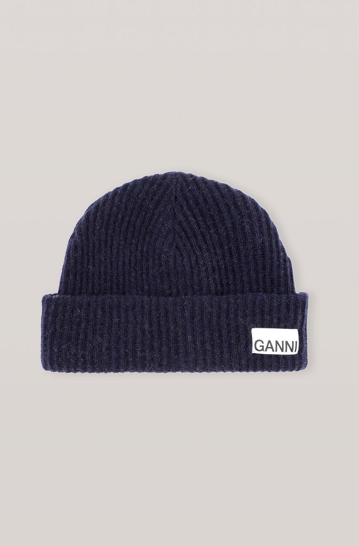 가니 울 니트 비니 Ganni Recycled Wool Knit Hat,Sky Captain