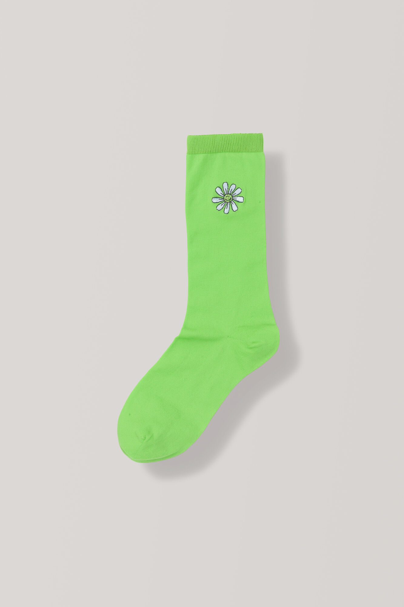 Classon Embroidery Ankle Socks, Daisy, Classic Green, hi-res