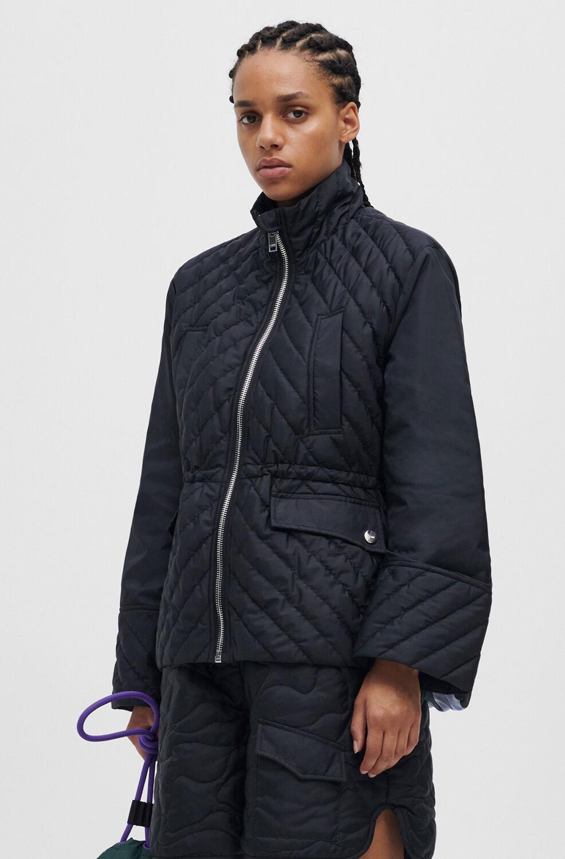 가니 퀼팅 자켓 Ganni Quilted Recycled Polyester Jacket,Black