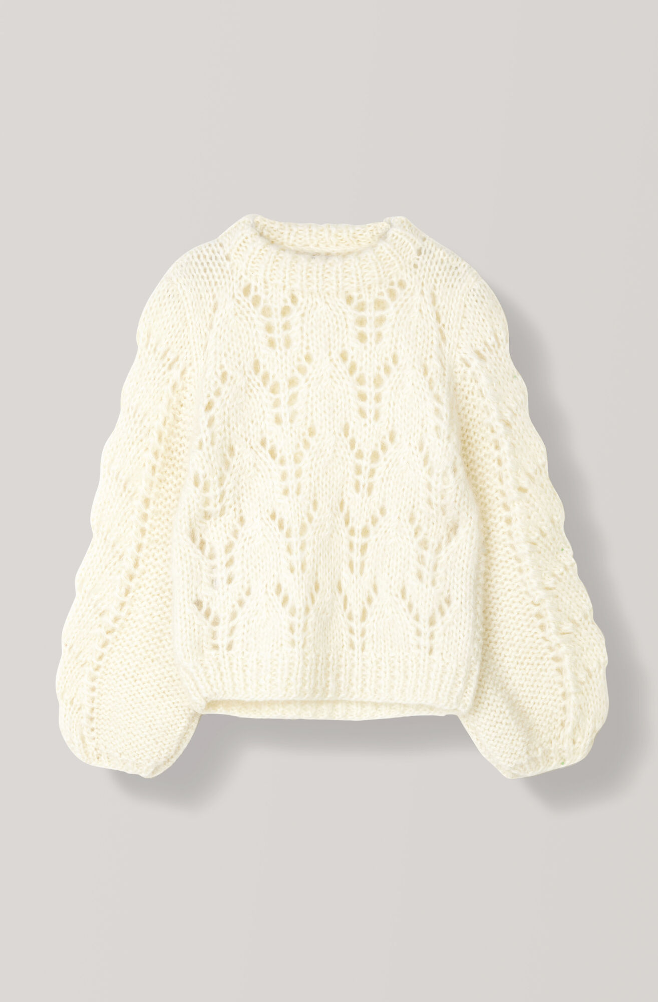Hand Knit Wool Pullover, Egret, hi-res