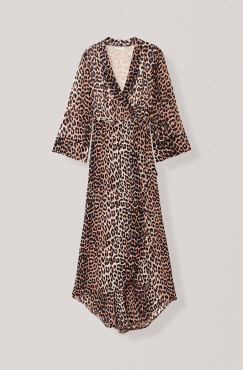 Printed Georgette Wrap Dress, Leopard, hi-res