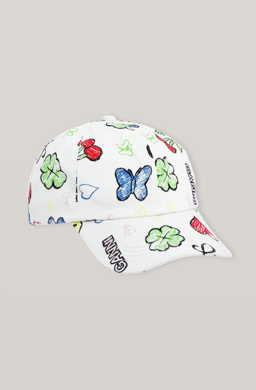 가니 플라워 볼캡 모자 Ganni Cotton Canvas Hats Cap,Multicolour