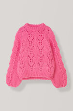 Hand Knit Wool Pullover, Hot Pink, hi-res