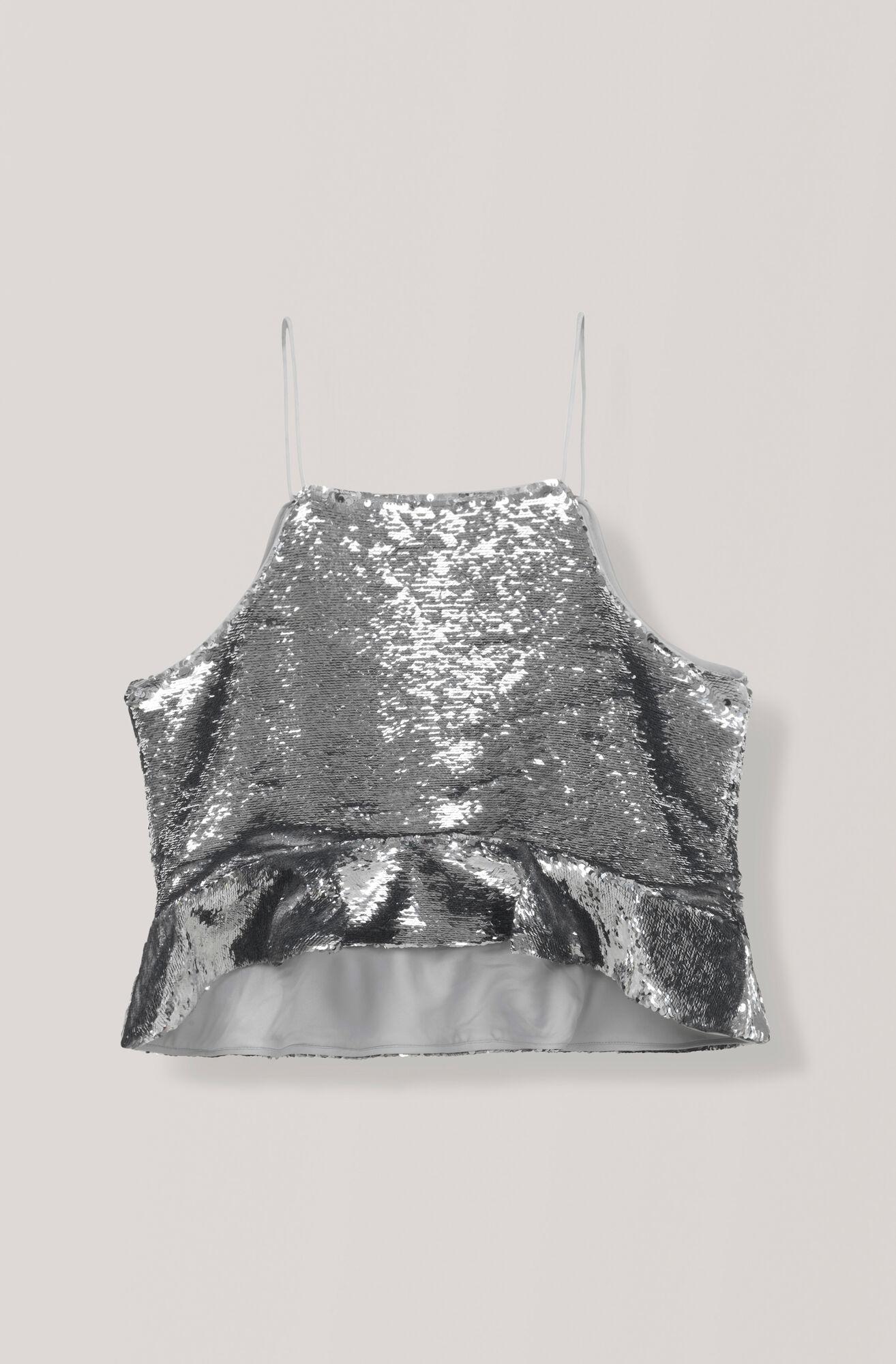 Sequins Top, Silver, hi-res