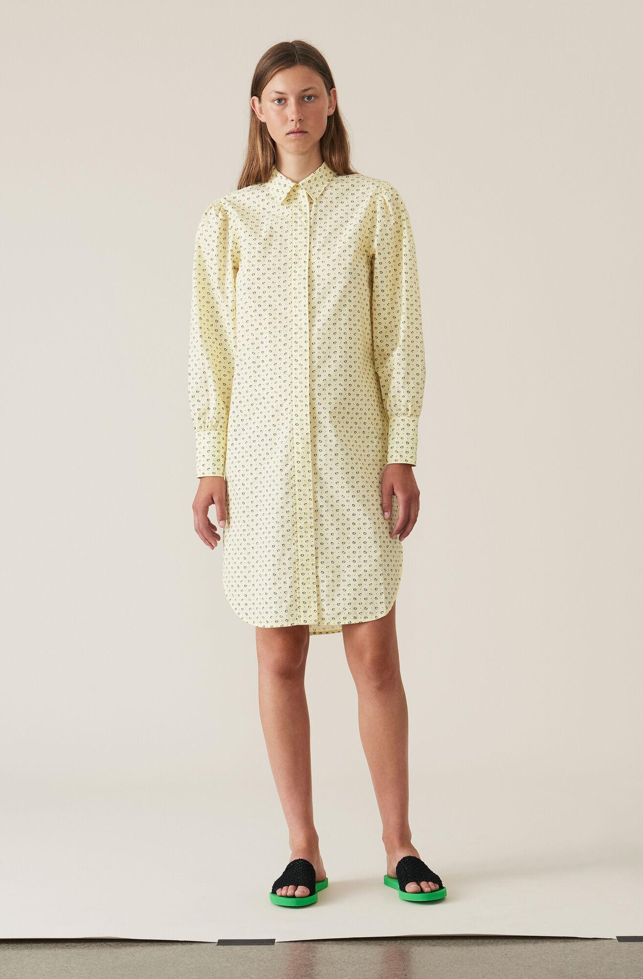 Printed Cotton Shirt Dress, Anise Flower, hi-res