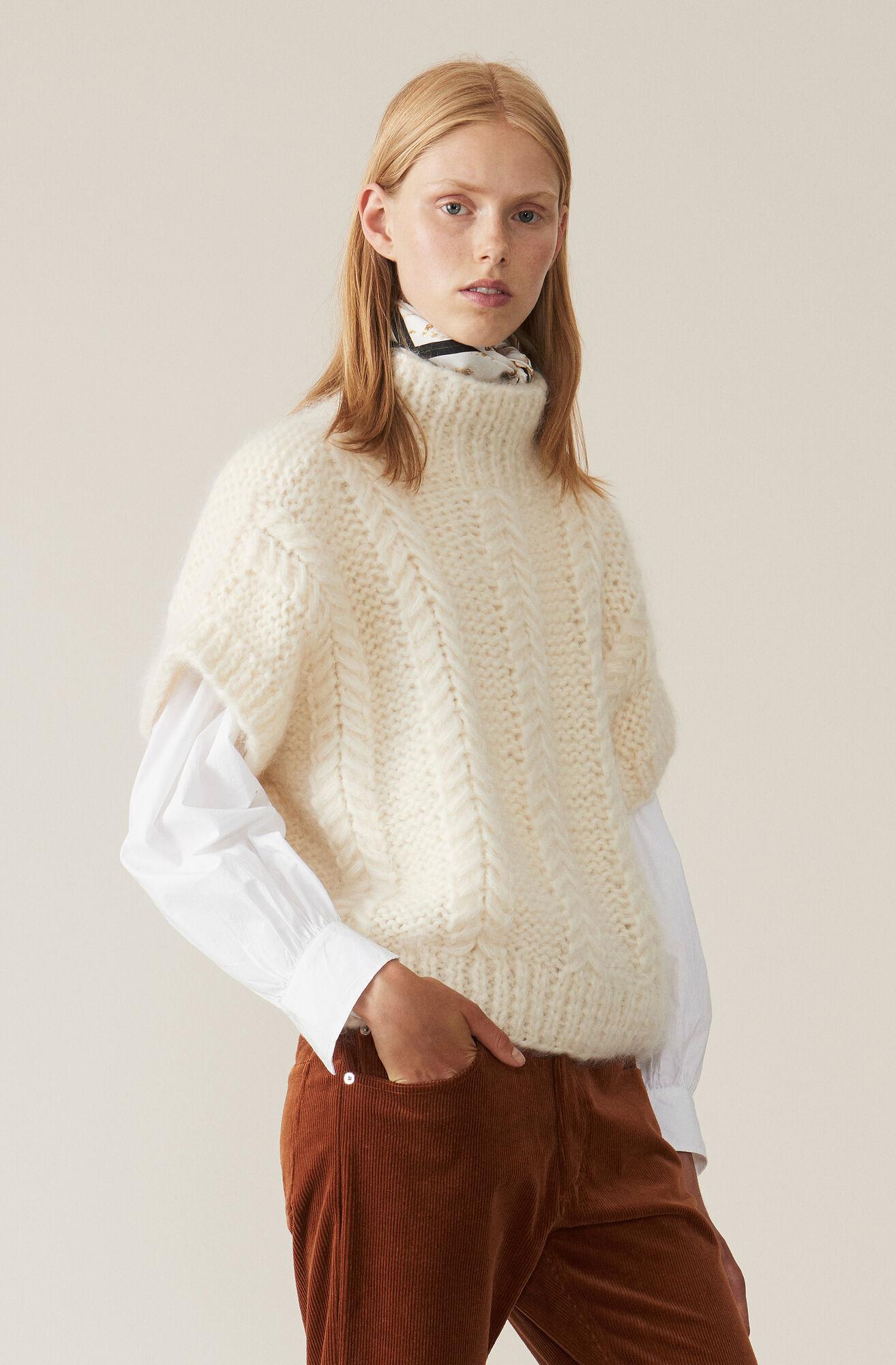 Hand Knit Wool Rollneck, Egret, hi-res