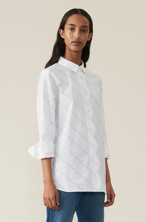 Printed Cotton Poplin Scallop Shirt, Bright White, hi-res