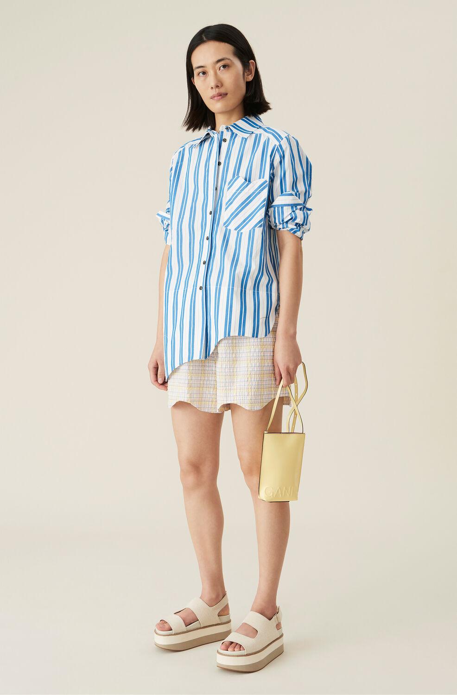 Ganni Checkered Seersucker Drawstring Shorts,Multicolour