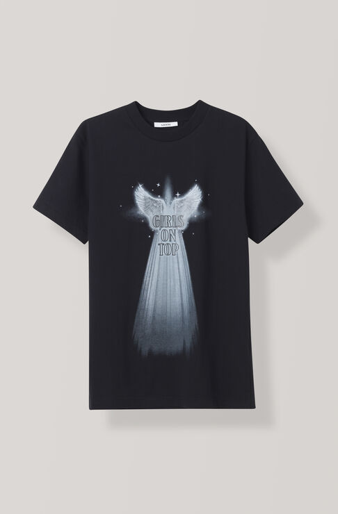 Heavy Cotton Jersey T-shirt, Angel Wings, Black, hi-res