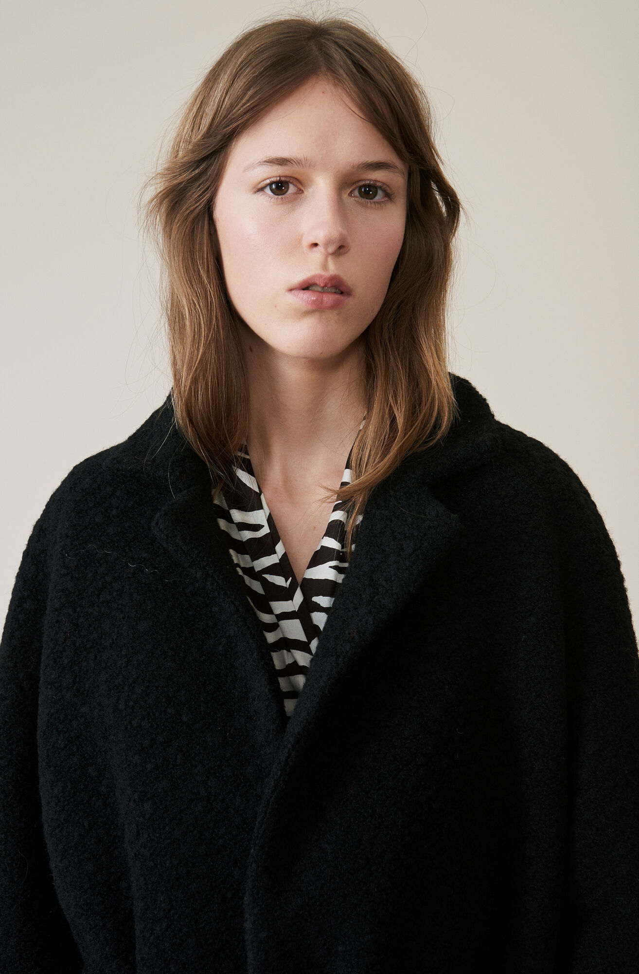 Boucle Wool Long Wrap Coat, Black, hi-res