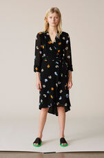 Dainty Georgette Wrap Dress, Black, hi-res