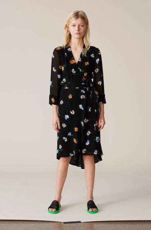 Dainty Georgette Wrap Dress, Black, hi-res