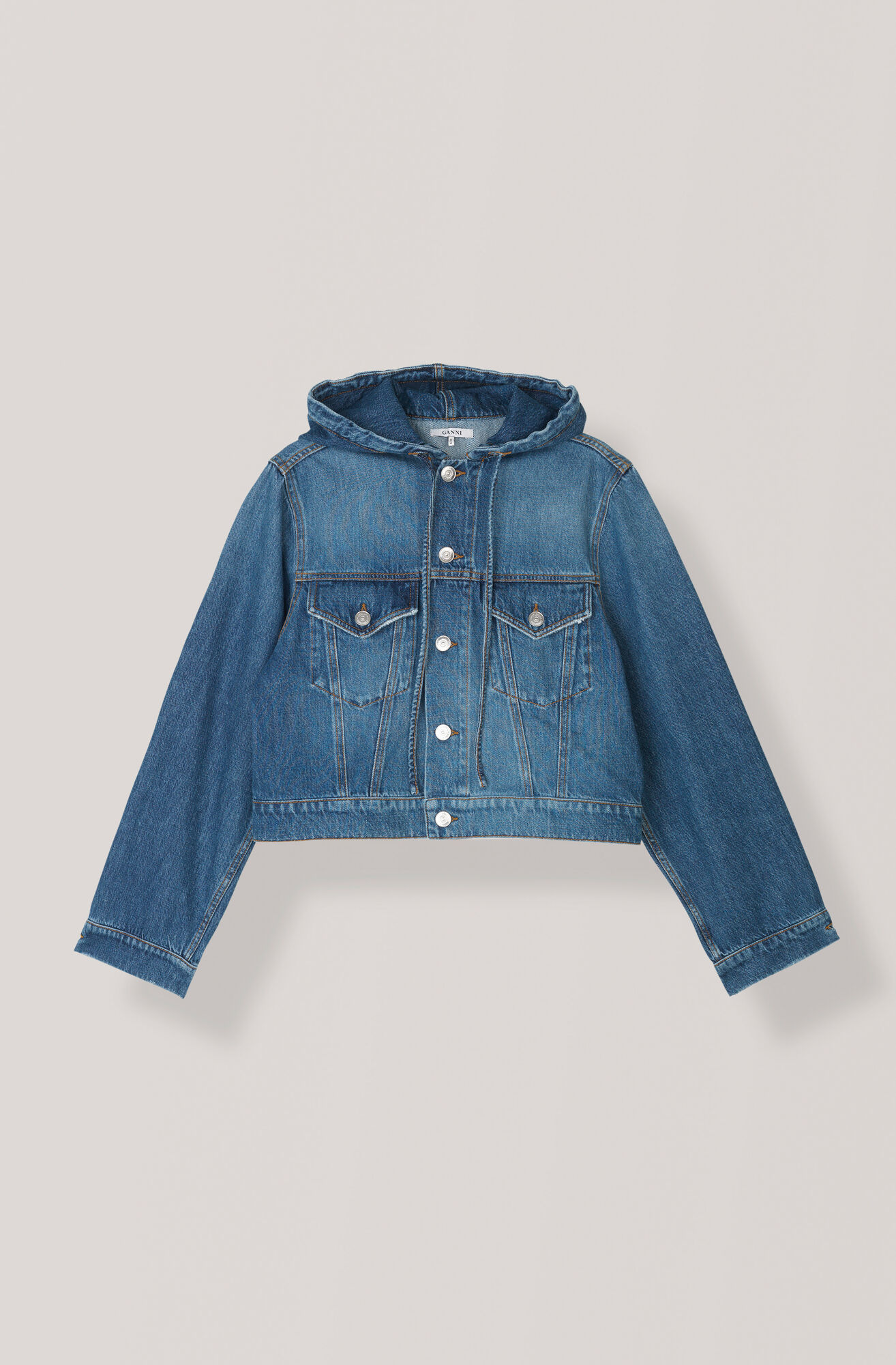 Denim Hooded Jacke, Medium Dark Denim, hi-res