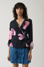 Fayette Silk Wrap Top, Black, hi-res