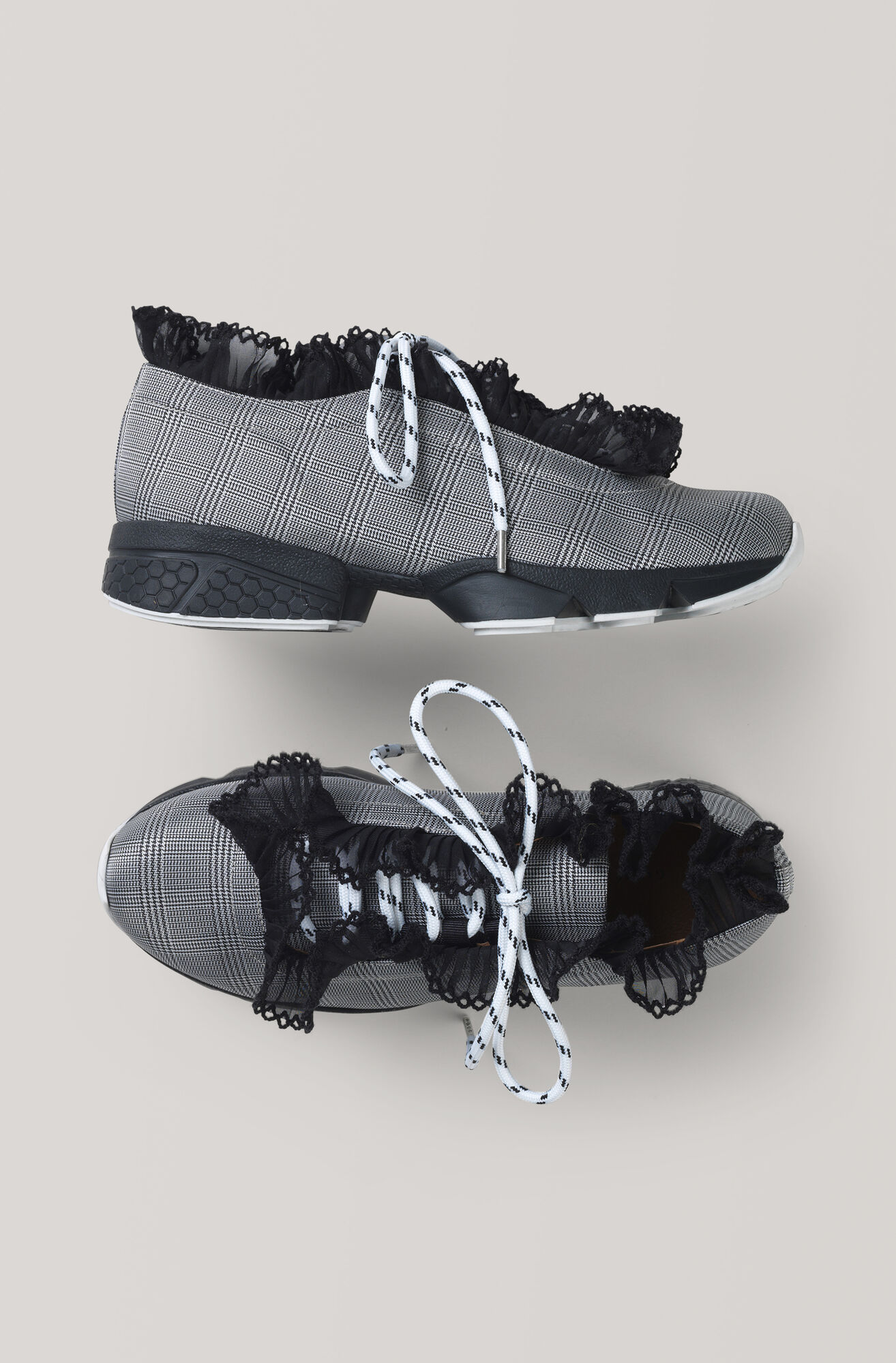 Lace Detailed Sneakers, Bright White, hi-res