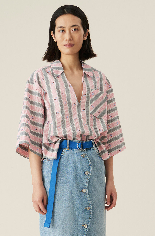 가니 셔츠 Ganni Cotton Seersucker Boxy Shirt,Pink Nectar
