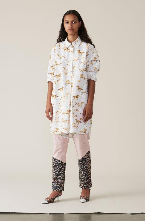 Printed Poplin Skjorte Kjole, Bright White, hi-res