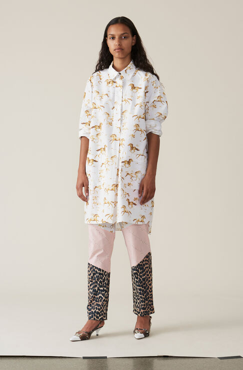 Printed Poplin Shirt Dress, Bright White, hi-res