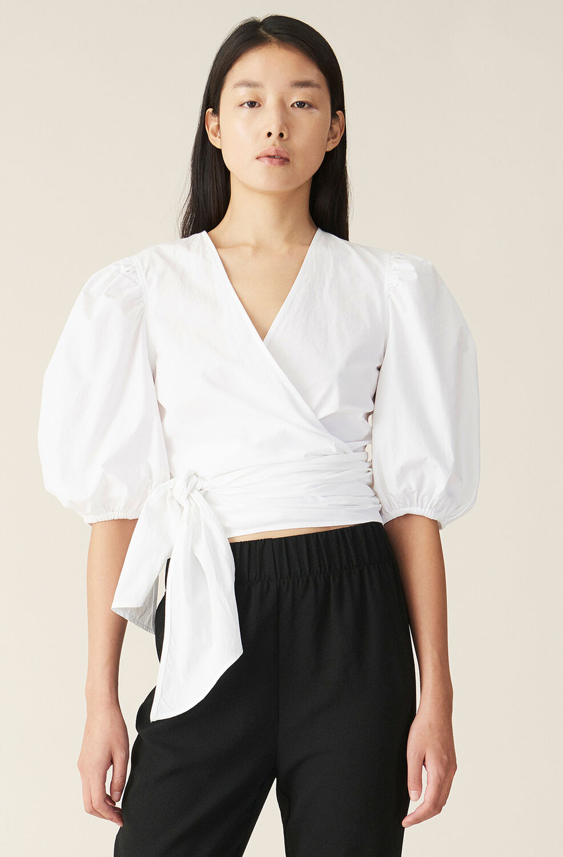 가니 블라우스 Ganni Plain Cotton Poplin Wrap Blouse,Bright White