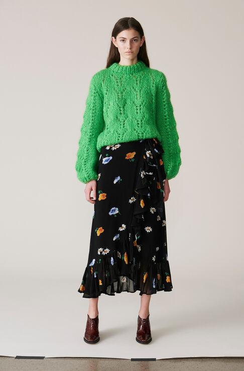 Dainty Georgette Wrap Skirt, Black, hi-res