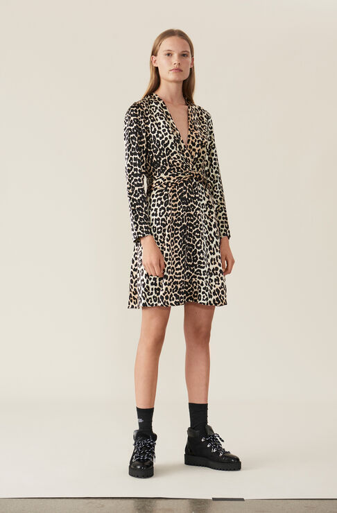 Heavy Satin Twist Dress, Leopard, hi-res