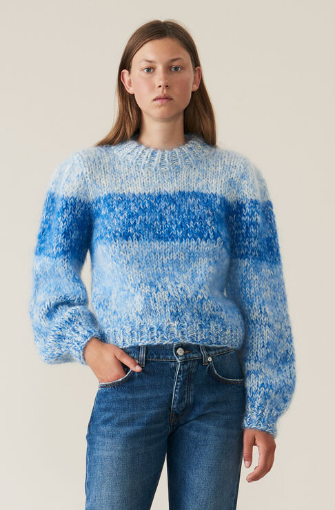 Hand Knit Wool Puff Sleeve Pullover, Lapis Blue, hi-res