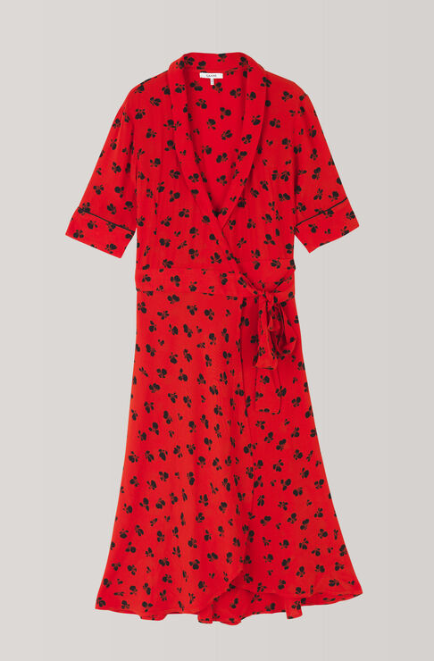 Emory Crepe Wrap Dress, Fiery Red, hi-res