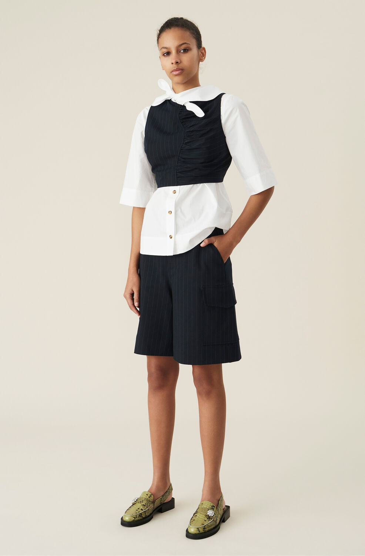 Ganni Navy Pinstripe High-Rise Suit Shorts,Sky Captain