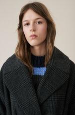 Check Wool Frakke, Ebony Melange, hi-res