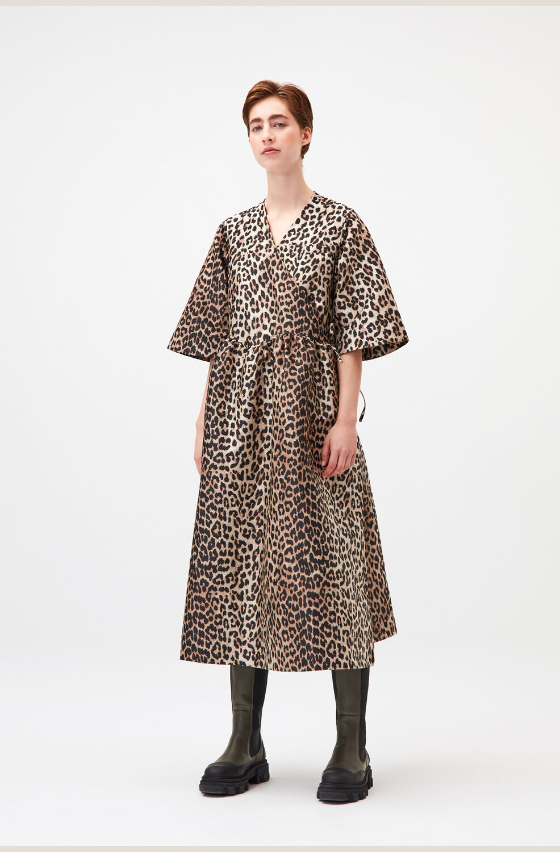 가니 레오파드 랩 원피스 Ganni Jacquard Wrap Midi Dress,Leopard
