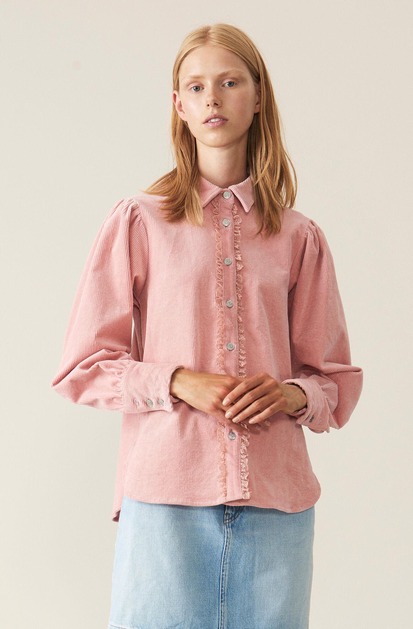 Stretch Corduroy Shirt, Silver Pink, hi-res