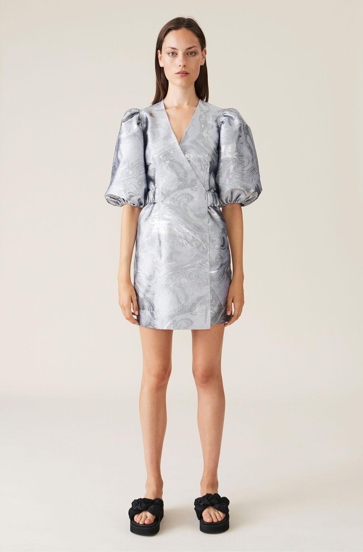 가니 랩 원피스 Ganni Shiny Jacquard Wrap Dress,Sharkskin