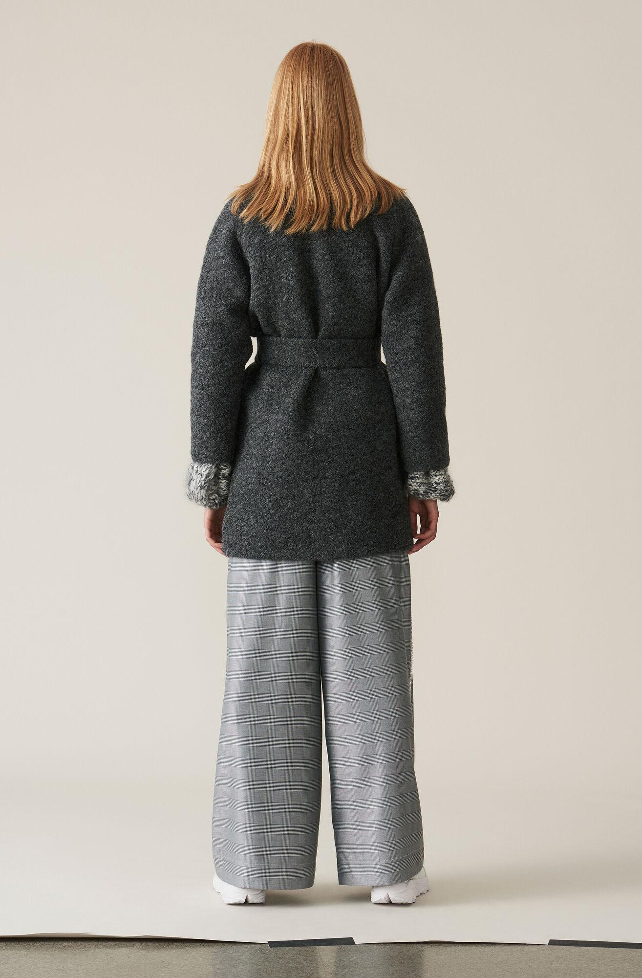 Boucle Wool Wrap Coat, Ebony Melange, hi-res