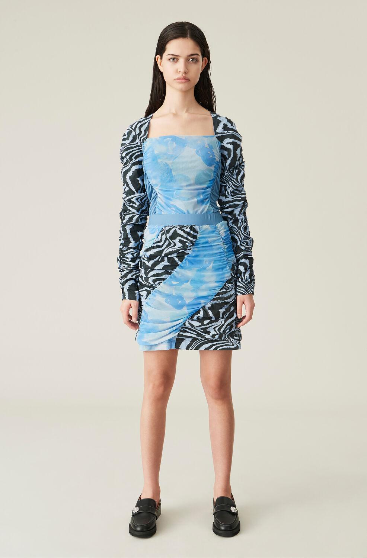 가니 스커트 Ganni Ruched Jersey Patchwork Mini Skirt,Forever Blue