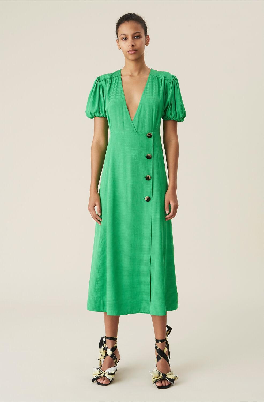 가니 랩 원피스 Ganni Green Ripstop Wrap Midi Dress,Kelly Green