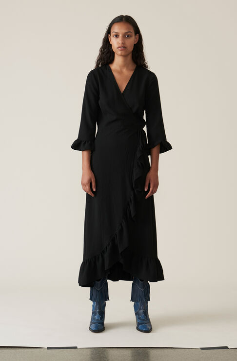 Heavy Crepe Wrap Dress, Black, hi-res