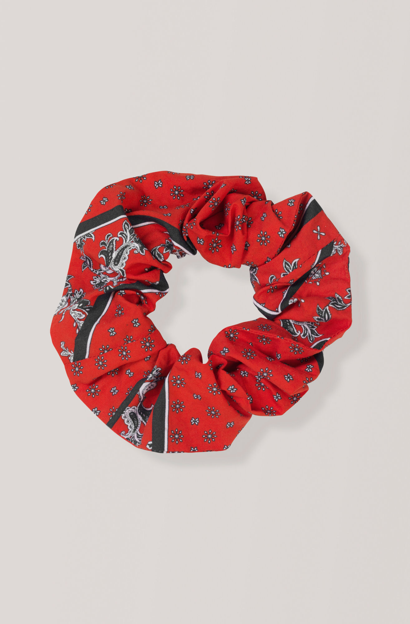 Printed Cotton Poplin Scrunchie, Fiery Red, hi-res