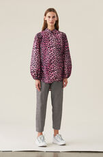 Printed Cotton Poplin Love for Leopard Wrap Shirt, Hot Pink, hi-res