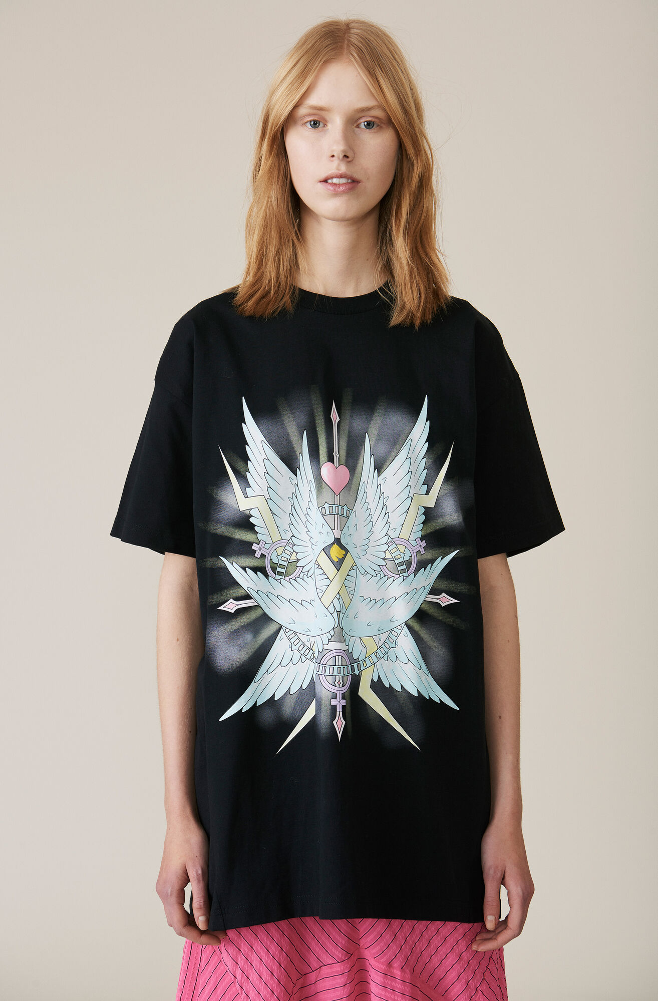 Johnson Oversized T-shirt, Wings, Black, hi-res