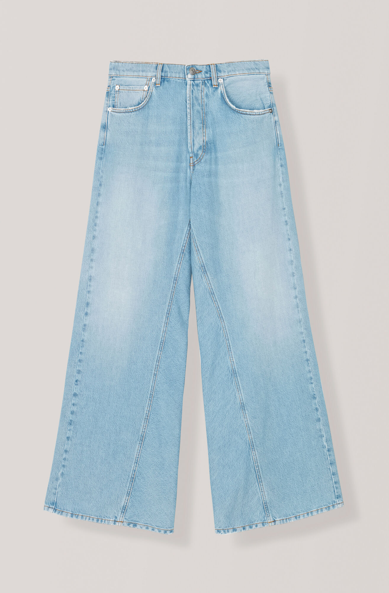 Washed Denim Wide Pants, Bleached Denim, hi-res
