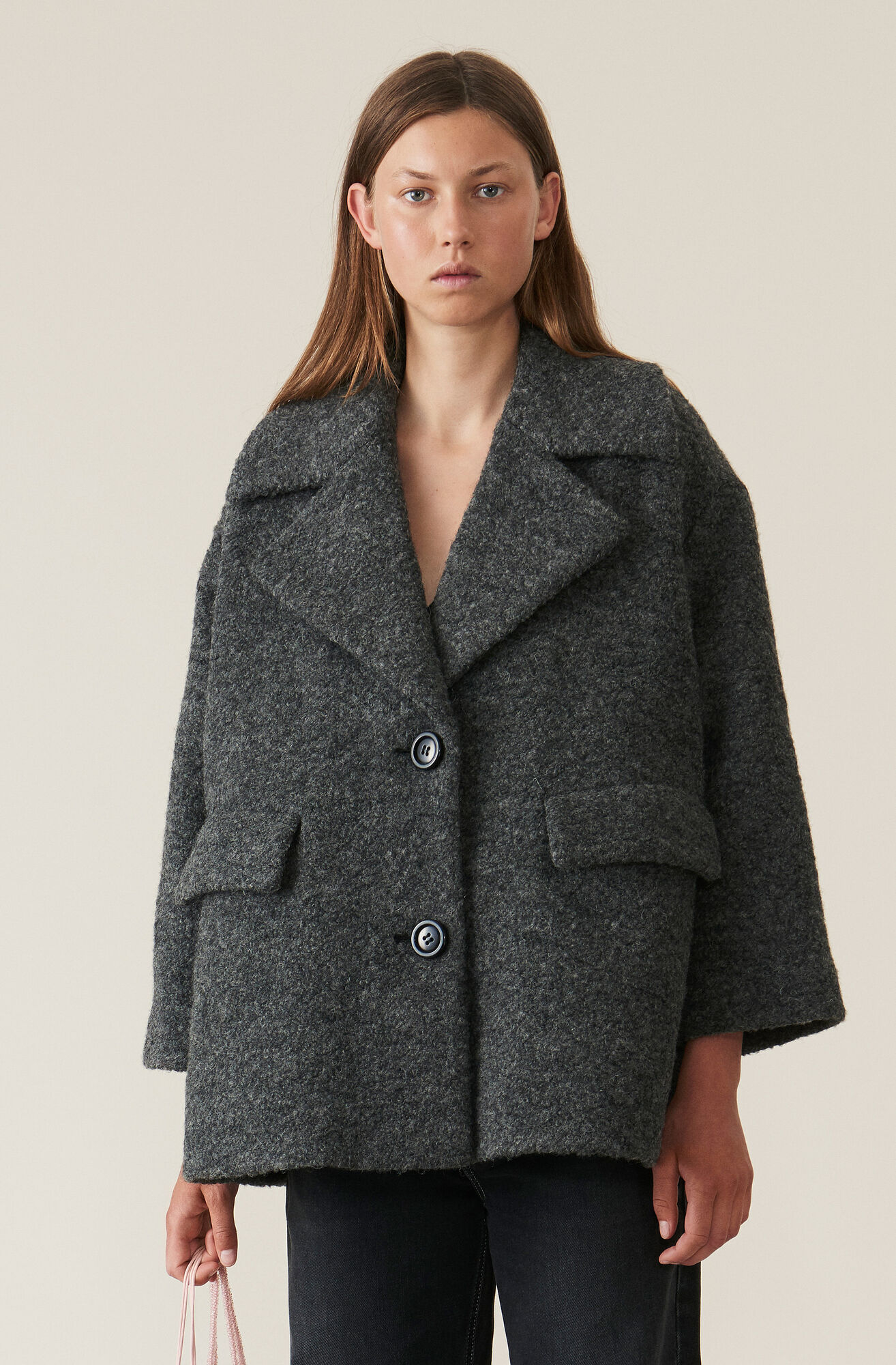 4cededdc Shoptagr | Boucle Wool Oversized Jacket by Ganni