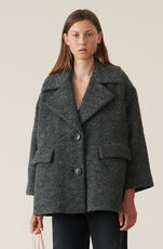 Boucle Wool Oversized Jakke, Ebony Melange, hi-res
