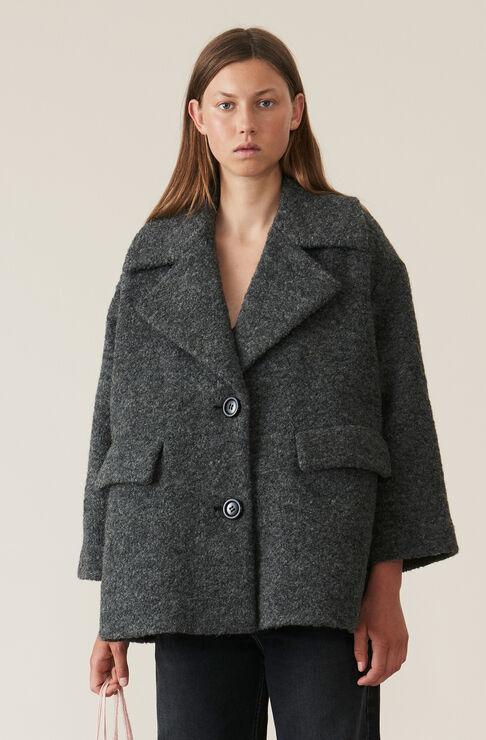 Boucle Wool Oversized Mantel, Ebony Melange, hi-res