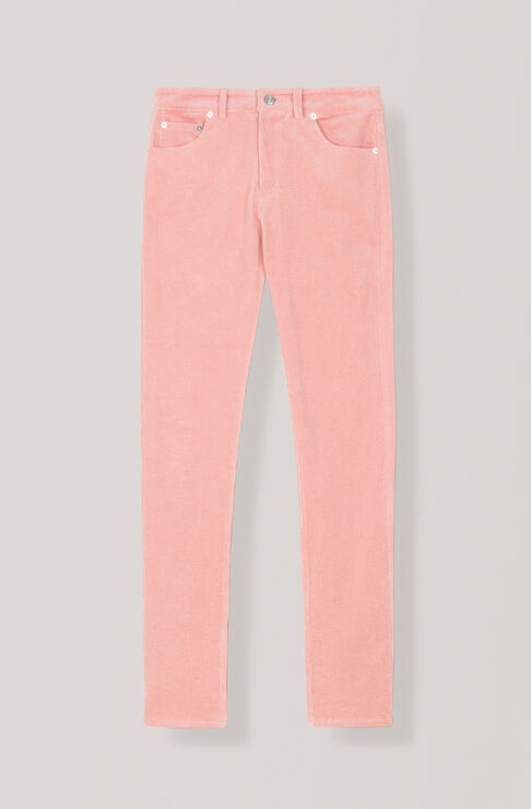 Stretch Corduroy Slit Pants, Silver Pink, hi-res