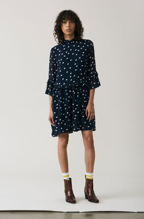 Marceau Georgette Mini Dress, Total Eclipse, hi-res