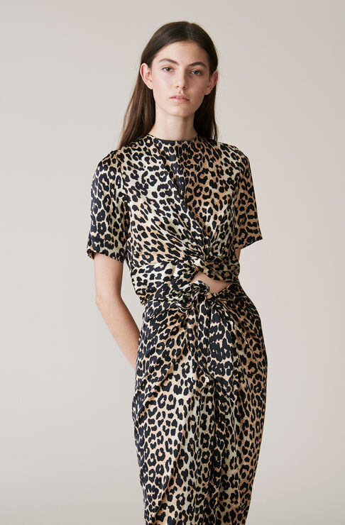 Calla Silk Twist Blouse, Leopard, hi-res
