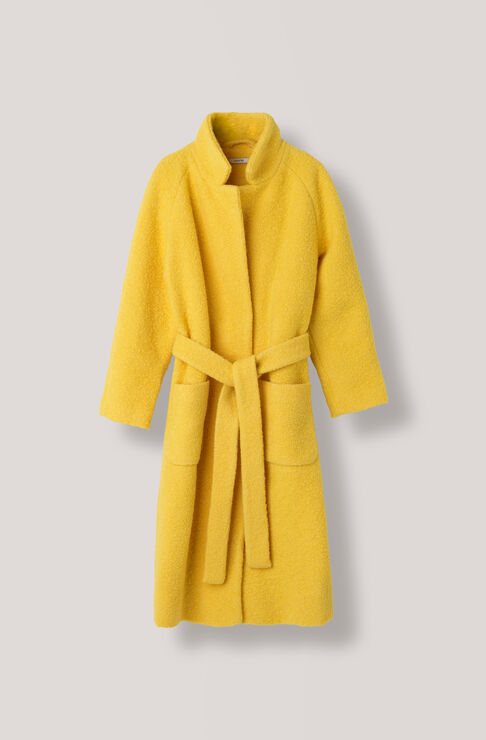 Fenn Long Wrap Coat, Lemon, hi-res